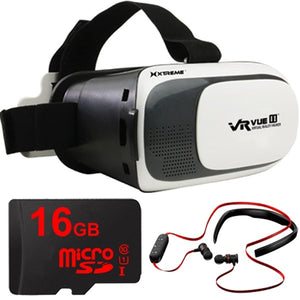 Xtreme VR Vue II Virtual Reality Viewer with 16GB MicroSD and Bluetooth Headphones Kit