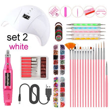 Load image into Gallery viewer, Nail Tool Kit Nail Dryer Lamp Nail Pen Nail Drill Handpiece Nail Nail File Tool Nail Brushes Nail Decorations Manicure Tape Color Rhinestones for Nails Beauty WH105110000#1