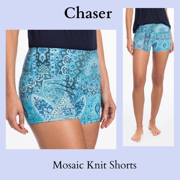 CHASER ELASTIC WAIST MOSAIC PRT STRETCH ACTIVE KNIT SHORT