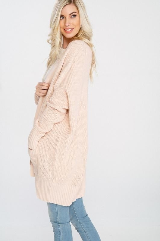 Wishlist Long Sleeve Cotton Cardigan With Pockets- Low-gauge Cotton Blend Sweater Knit