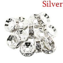 Load image into Gallery viewer, 100PCS/SET Metal Crystal Rhinestone Rondelles Spacer Beads Loose Charm Beads 6/8mm for DIY Jewelry Making Tools Jewelry Handmade Accessories