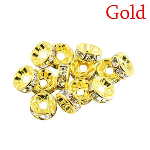 100PCS/SET Metal Crystal Rhinestone Rondelles Spacer Beads Loose Charm Beads 6/8mm for DIY Jewelry Making Tools Jewelry Handmade Accessories