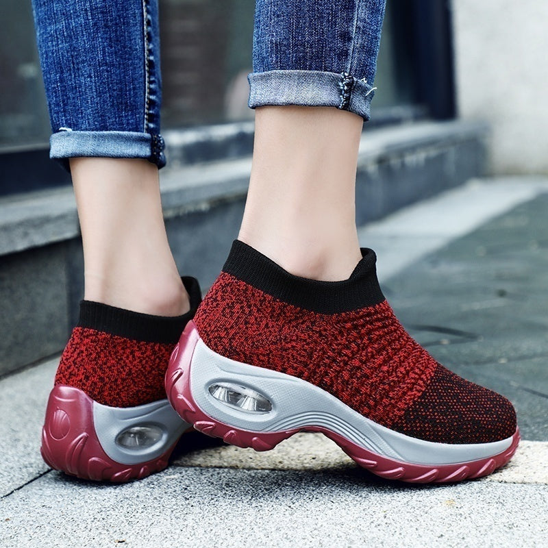 Women Sneakers Sock Shoes Air Cushion Flying Woven Slip-on Women Sneaker for Sport Size EU35-42
