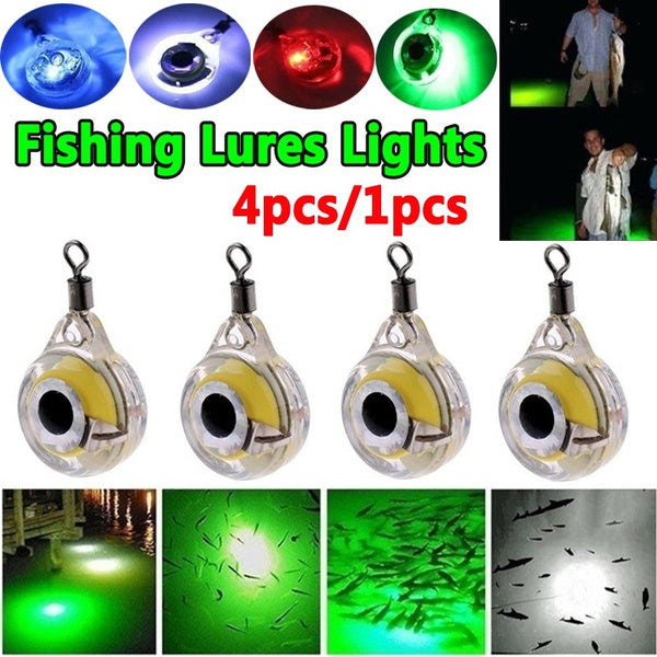 4PCS/1PCS Luminous Fishing Lures Lights Night Fluorescent Glow In The Dark LED Underwater Light Lure Fish Bait