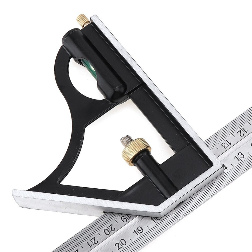 300mm Combination Square Stainless Steel Protractor Multi-function Measuring Tool Professional Carpenter Tool with Bubble Level Multi-function Measuring Stainless Steel Ruler