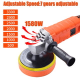 1580W 220V Adjustable Speed Car Electric Polisher Waxing Machine Automobile Furniture Polishing Tool