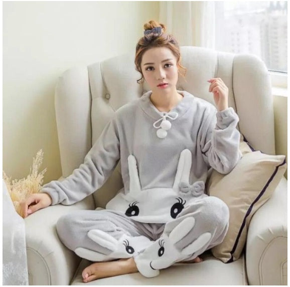 Women Fashion Autumn And Winter Plus Size Women'S Flannel Cartoon Long-Sleeved Pullover Coral Fleece Top Casual Trousers Pajamas Suit Two-Piece Home Service