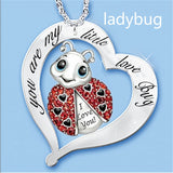 Exquisite Europe and the United States Fashion Creativity 925 Silver Heart  Women Necklace Animal Necklace Elephant Bee Ladybird Owl Heart Necklace Fashion Accessories Charm Jewelry Lovers Gift Anniversary Gift Christmas Gift