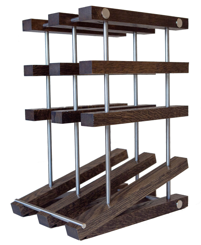 White Oak Countertop Wine Rack With Ebony Finish And Stainless Steel Tubes