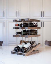 Load image into Gallery viewer, White Oak Countertop Wine Rack With Ebony Finish And Stainless Steel Tubes