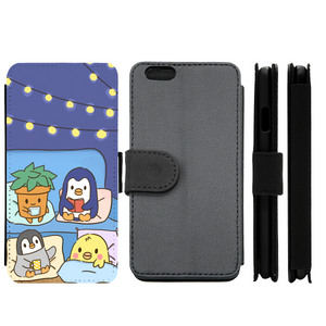 Blue Comfy and Cozy Penguin Wallet Phone Case