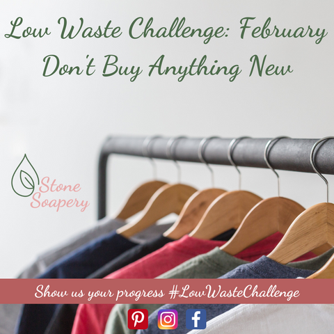 """Metal clothes hanger with 6 wooden hangers with shirts of varying colors. Text reads """"Low Waste Challenge: February- Don't Buy Anything New"""""""
