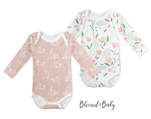 2-Piece Long Sleeve Onesie Set - Vintage Bunny/Bloom