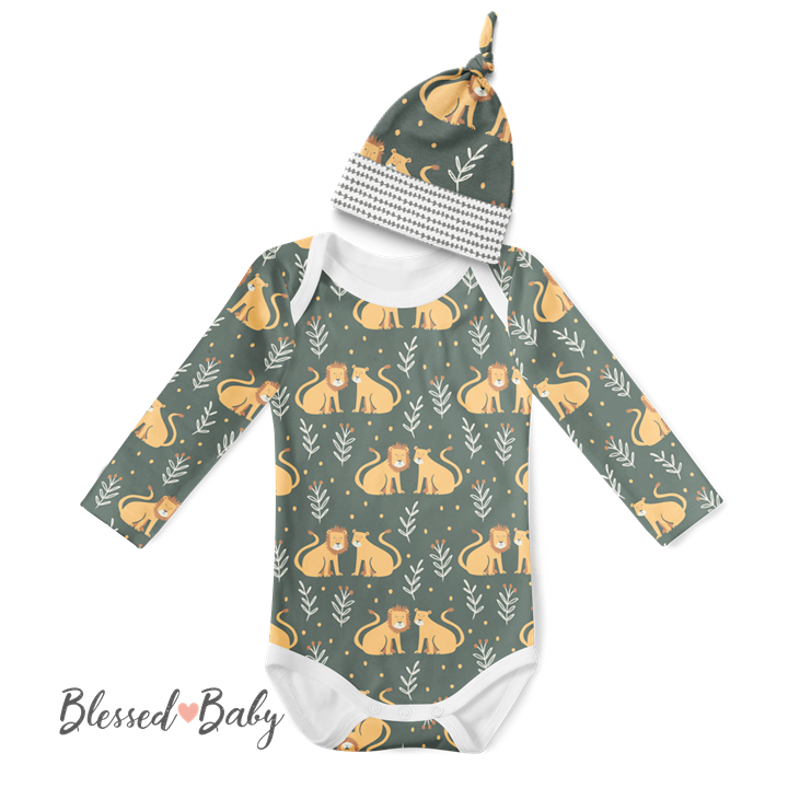 Long Sleeve Onesie/Beanie Set - Lions