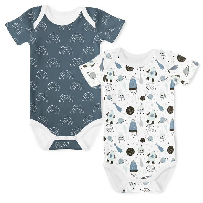 2-Piece Short Sleeve Onesie Set - Galaxy/Arc Midnight