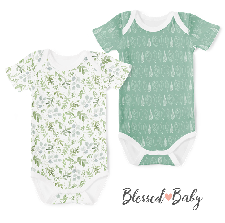 2-Piece Short Sleeve Onesie Set - Watercolour Leaves/Leaf