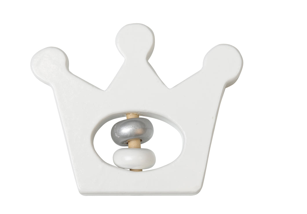 Wooden White Crown Rattle