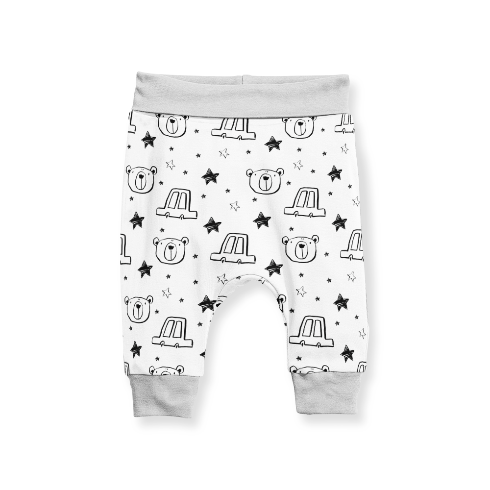 Jogger Pants - Starry Bear Black White and Grey