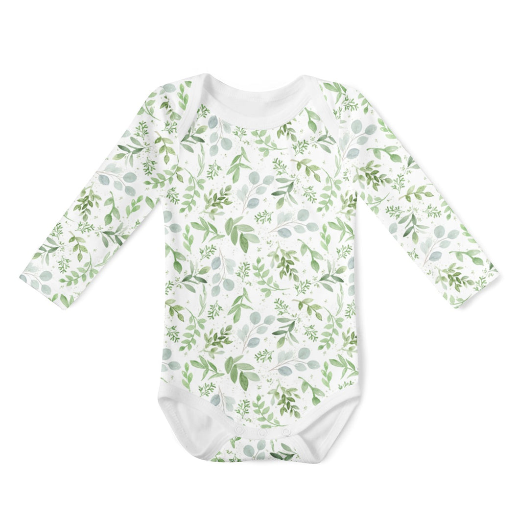 SALE - Long Sleeve Onesie - Watercolour Leaves