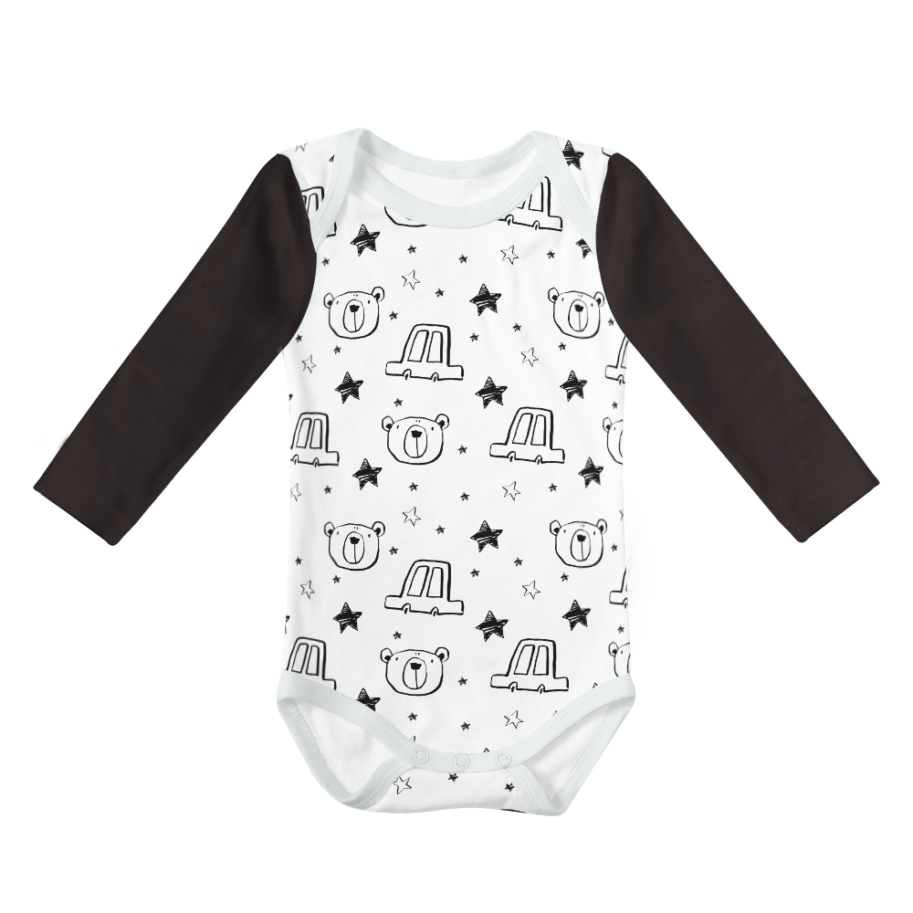 Long Sleeve Onesie - Starry Bear White with Black Sleeve