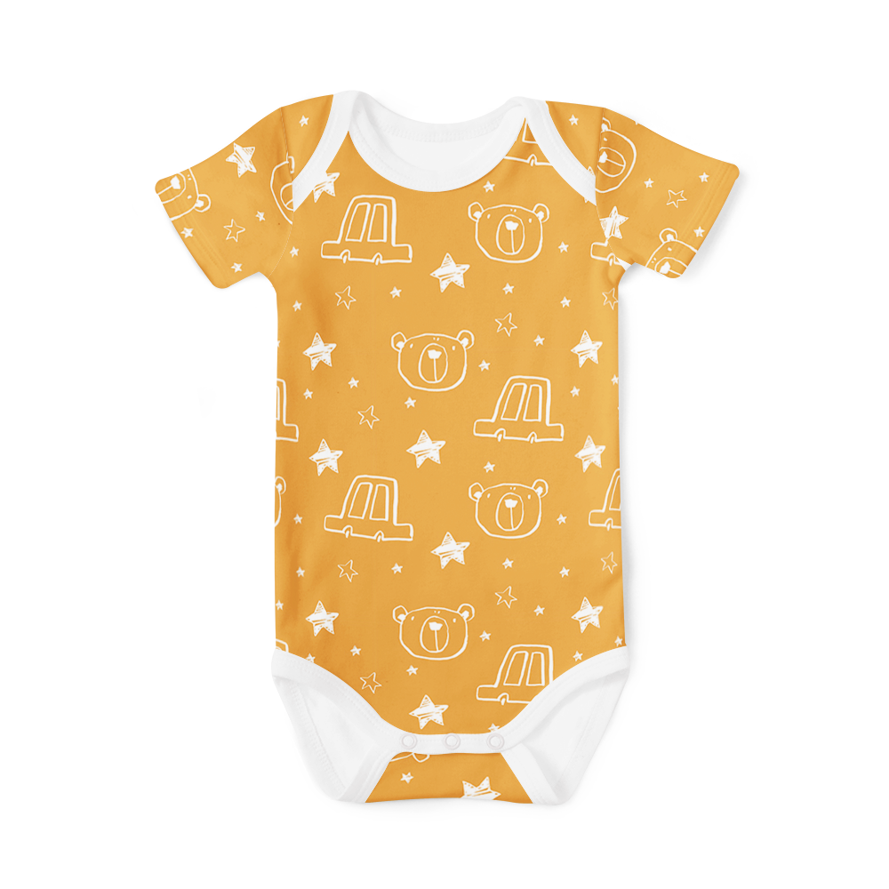 Short Sleeve Onesie - Starry Bear Mustard