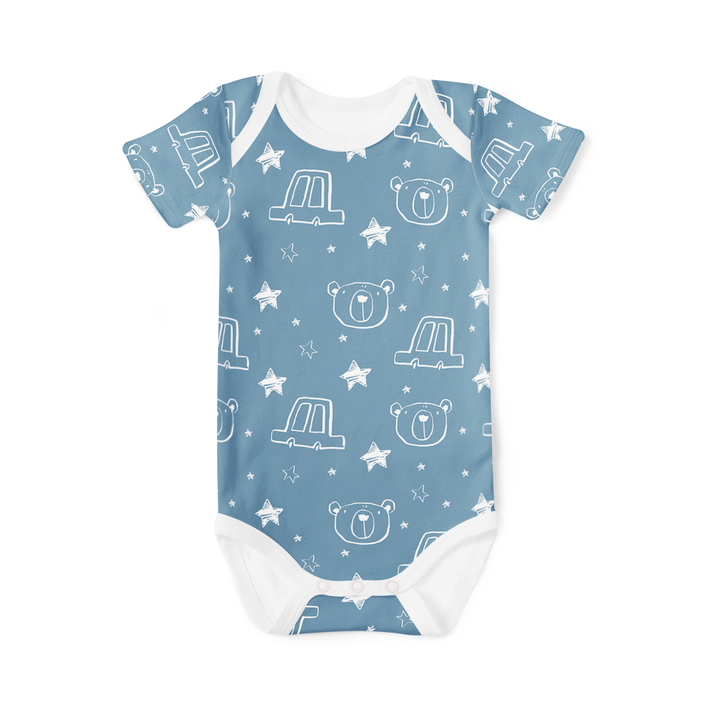 Short Sleeve Onesie - Starry Bear Blue