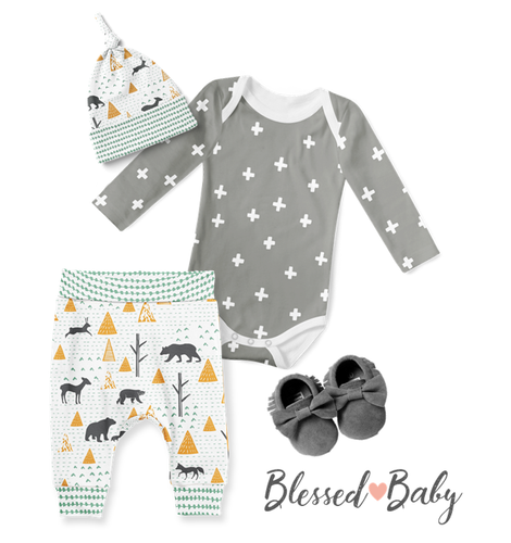 Baby Onesie with Jogger Pants and Beanie