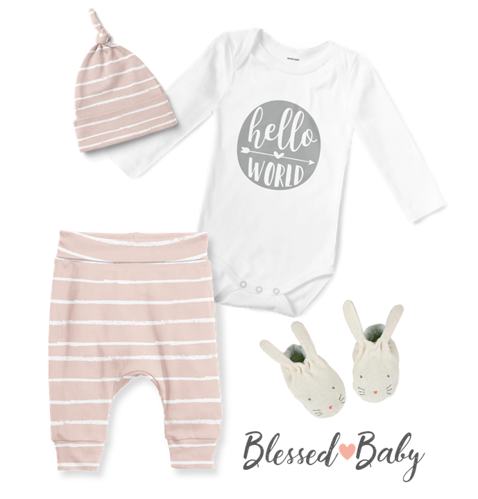 3-Piece Jogger/Onesie/Beanie Set - Hello World Blush