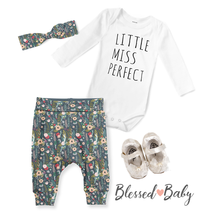 3-Piece Jogger/Onesie/Headband Set - Little Miss Perfect/Navy Floral