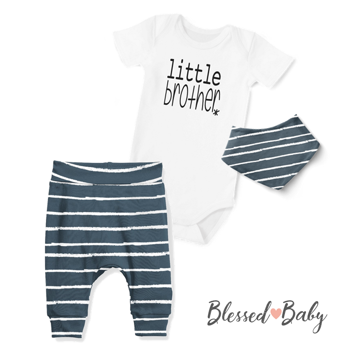 3-Piece Jogger/Onesie/Bandana Set - Little Brother