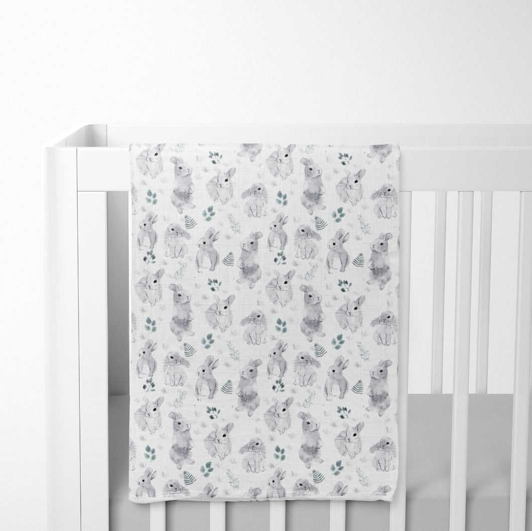 Muslin Swaddle Blanket - Watercolour Bunnies