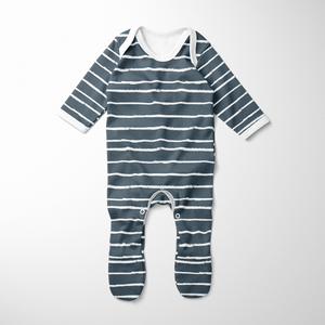 Footed Romper - Stripe Midnight