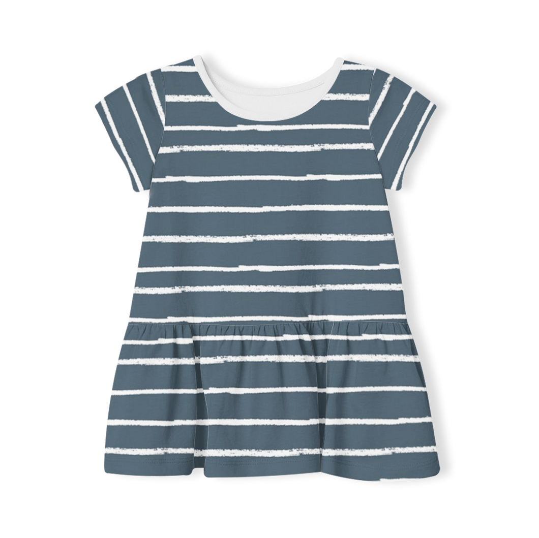 Short Sleeve Dress - Stripe Navy