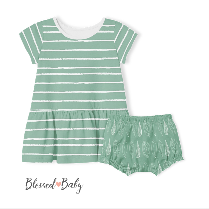 Short Sleeve Dress and Pants - Sage Stripe