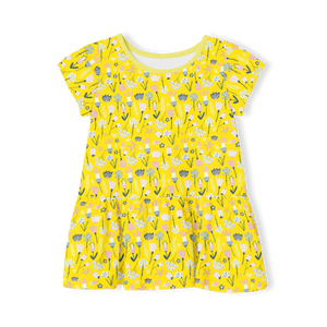 Short Sleeve Dress - Yellow Floral