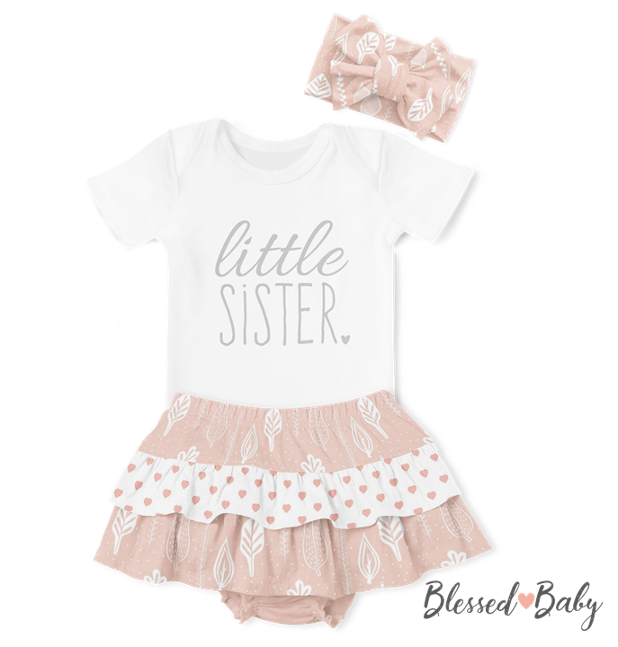 Onesie/Ruffle Pants/Headband Set - Little Sister