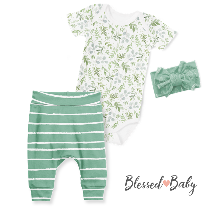 3-Piece Jogger/Onesie/Headband Set - Watercolour Leaves