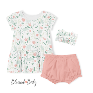 SALE -2-Piece Dress/Diaper Cover Pants Set - Bloom
