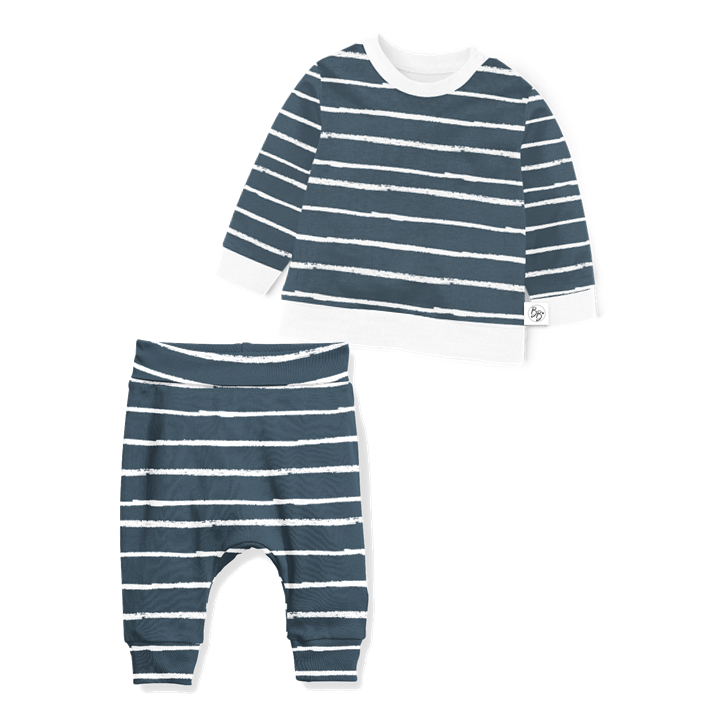 Sweater and Jogger Set - Navy Stripe