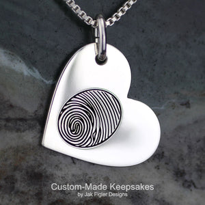 Heart on Side Fingerprint Necklace
