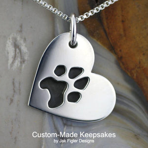 Heart on Side Pawprint Necklace