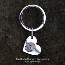 Load image into Gallery viewer, Heart on Side Fingerprint Keychain