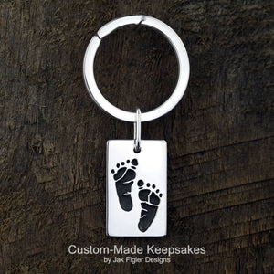 Dog Tag Footprint Keychain
