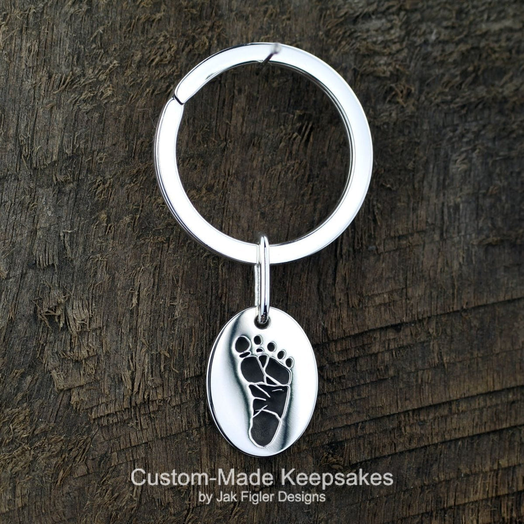 Oval Footprint Keychain