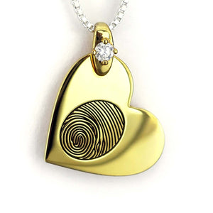 Yellow Gold Heart Fingerprint Necklace with Birthstone