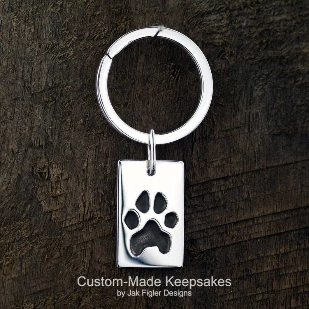 Pawprint Dog Tag Keychain