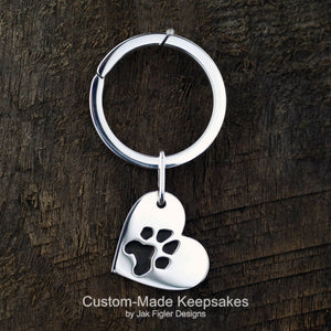 Heart on Side Pawprint Keychain
