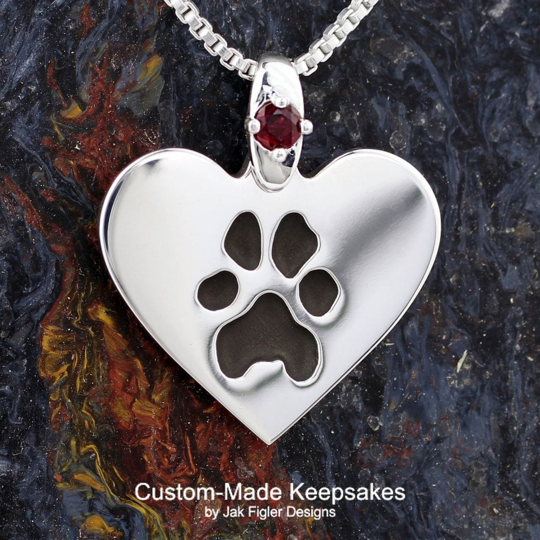 Heart Pawprint Necklace with Gemstone