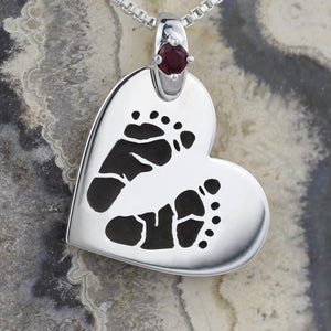 Heart on Side Footprint Necklace with Birthstone