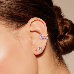 White Topaz, Sapphire and Tourmaline Double Ear Cuff